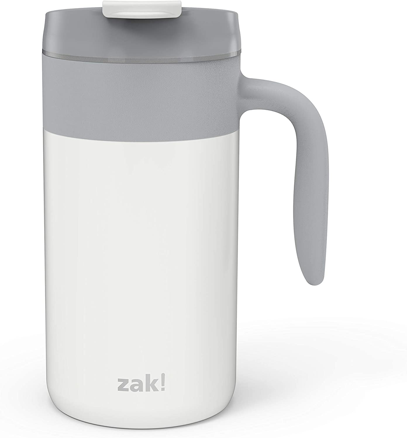 Zak Designs Aberdeen Stainless Steel Double Wall Vacuum Insulated Mug with Handle and Leak Proof Flip Top, Ergonomic Handle Coffee Mug with Screw on Lid is Easy to Clean (20oz, Gray, 18/8, BPA Free)