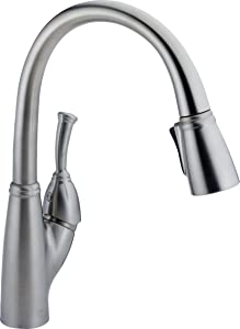 Delta Faucet Allora Single-Handle Kitchen Sink Faucet with Pull Down Sprayer and Magnetic Docking Spray Head, Arctic Stainless 989-AR-DST