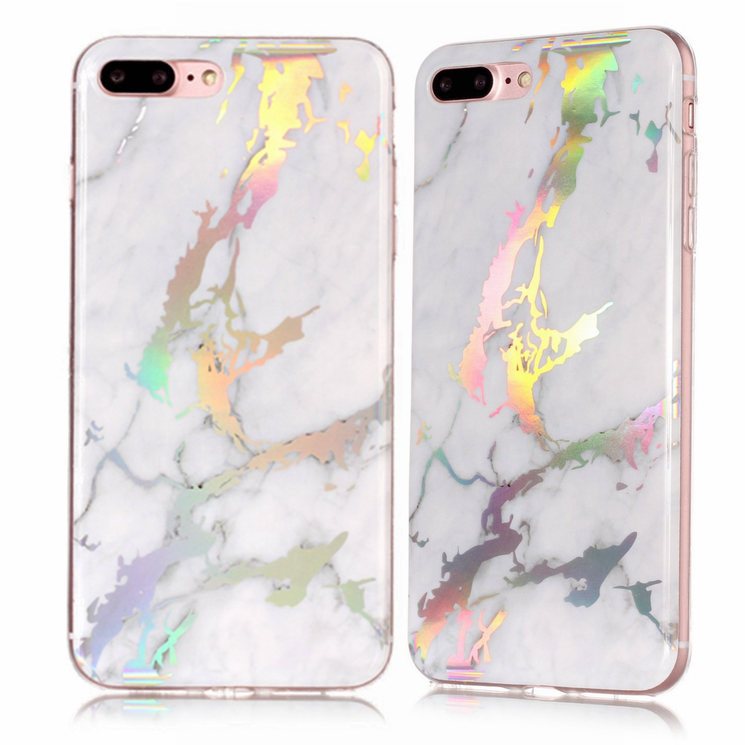 amazon com iphone 6 holographic marble case, iphone 6s white holoiphone 6 holographic marble case, iphone 6s white holo marble case, ultra thin sleek tpu silicone rubber phone cover for iphone 6 \u0026 iphone 6s fashion pink