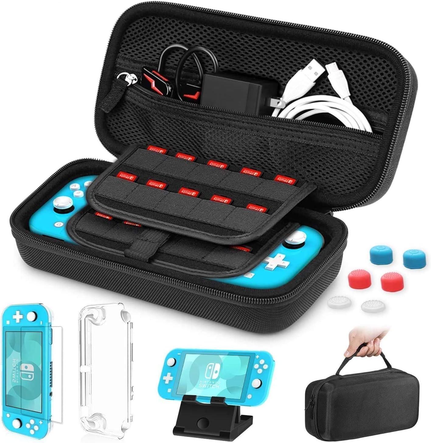 HEYSTOP Funda para Nintendo Switch Lite, Nintendo Switch Estuche de Transporte, Carcasa para Nintendo Switch Lite, PlayStand Ajustable, Protector de Pantalla, 6 Tapas de Agarre para Pulgar