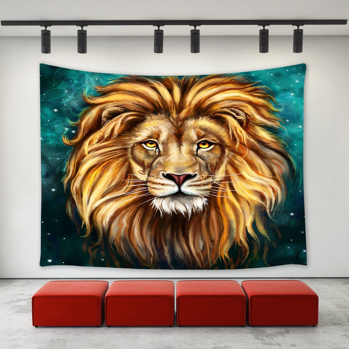 African Lion Tapestry - Vivid 3D Print College Dorm Room Decor Accessories Animal Wall Hanging Watercolor Wildlife Backdrop Yoga Mat Table Cloth Bed Cover - Queen Size, 80 x 60 inches