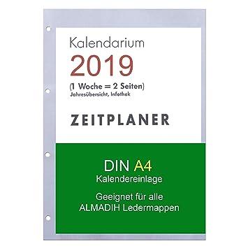 A4 Kalendereinlage 2019 1 Woche Auf 2 Seiten Für Almadih