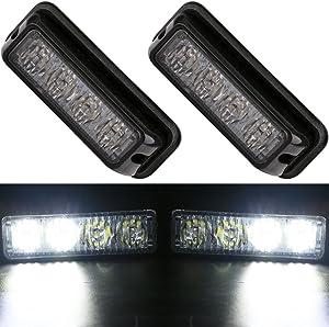 EverBrightt 2-Pack White 4 LED Car Flash Light DRL Truck Warning Caution Emergency Construction Strobe Light DC 12V-24V