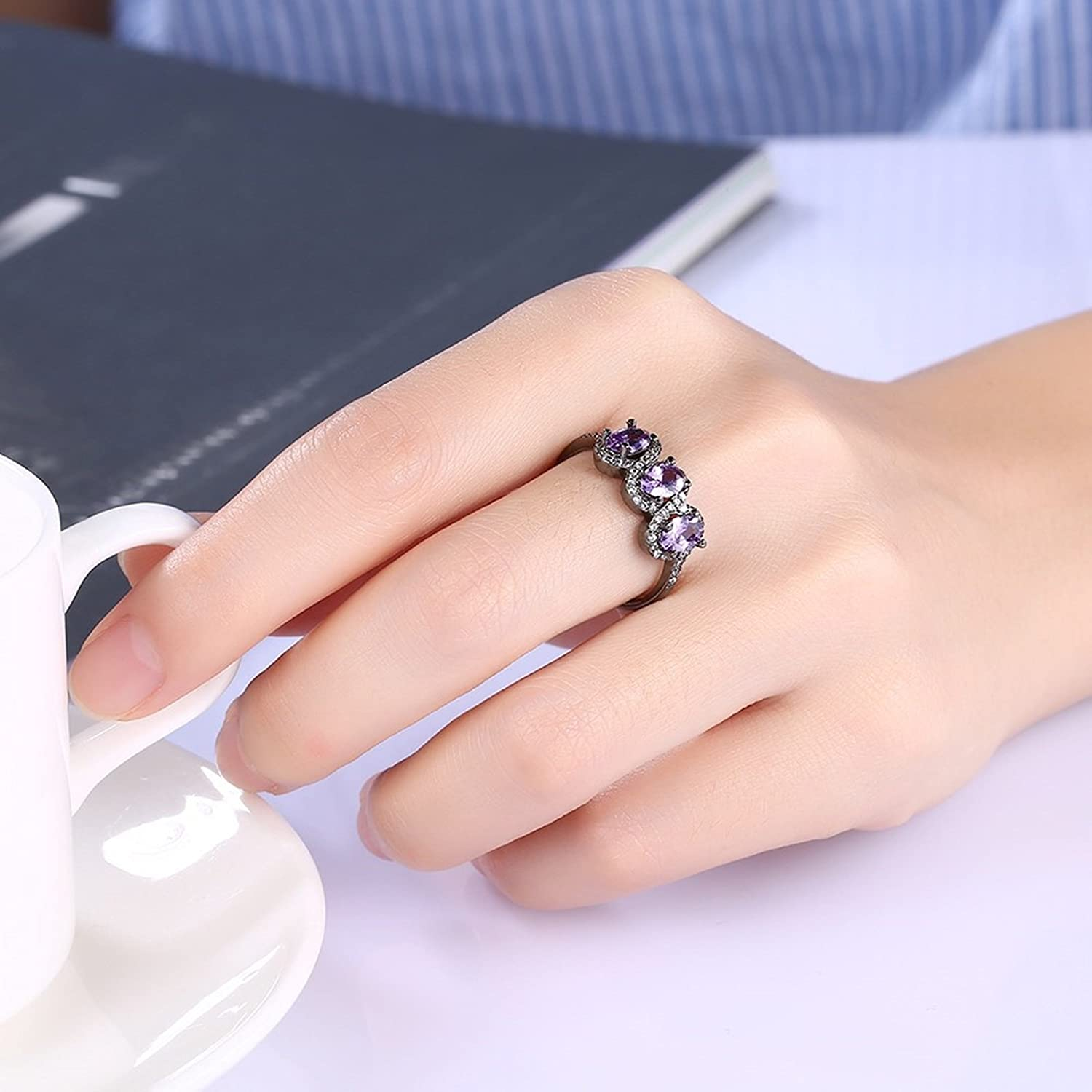 Amazon.com: Adisaer Womens Black Gold Plated Rings Crystal Oval ...