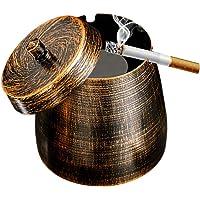 SPRIME Popielniczka z pokrywką, żelazna popielniczka do użytku na zewnątrz i wewnątrz, styl retro, kreatywna…