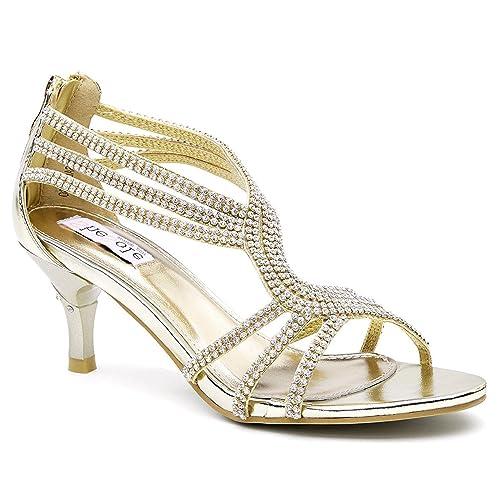 7b89fbd2ef Amazon.com   Lara's Womens Low Heel Dance Sandals Wedding Shoes ...