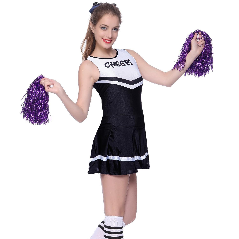ANLADIA Tenue Complete Robe noir une piece a Volant Pom-Pom Girls Cheerleader avec 2 Pompons violet