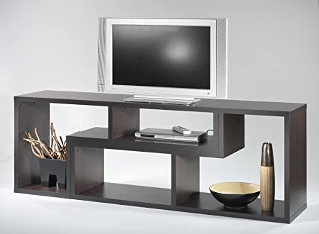2 piezas Estantería Flexo TV-board TV mueble de televisión con puerta corredera marrón: Amazon.es: Hogar