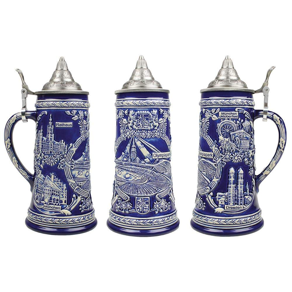 Cobalt Blue Olympia Parks .85 Liter Beer Mug Lidded Collectible Beer Stein Essence of Europe Gifts E.H.G S4537