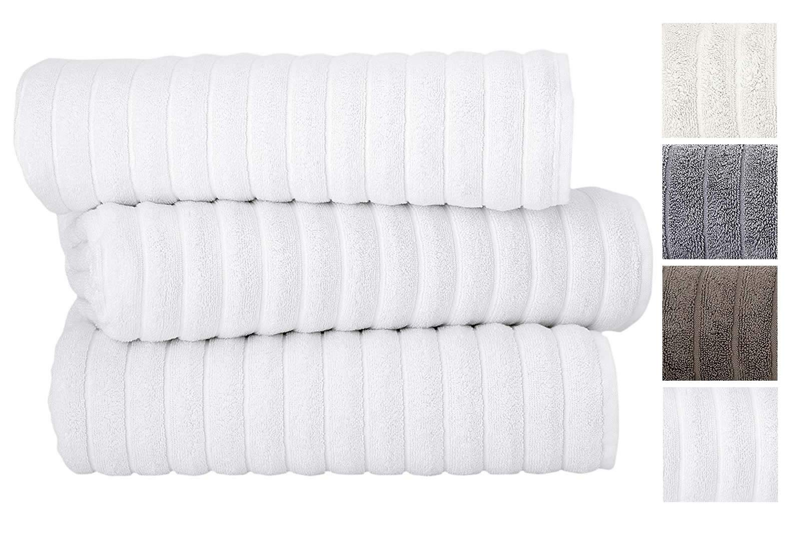 Classic Turkish Towels 3 Piece Luxury Bath Sheet Set - 40 x 65 Inch Soft and Thick Oversized Bathroom Towels Made with 100% Turkish Cotton (White)