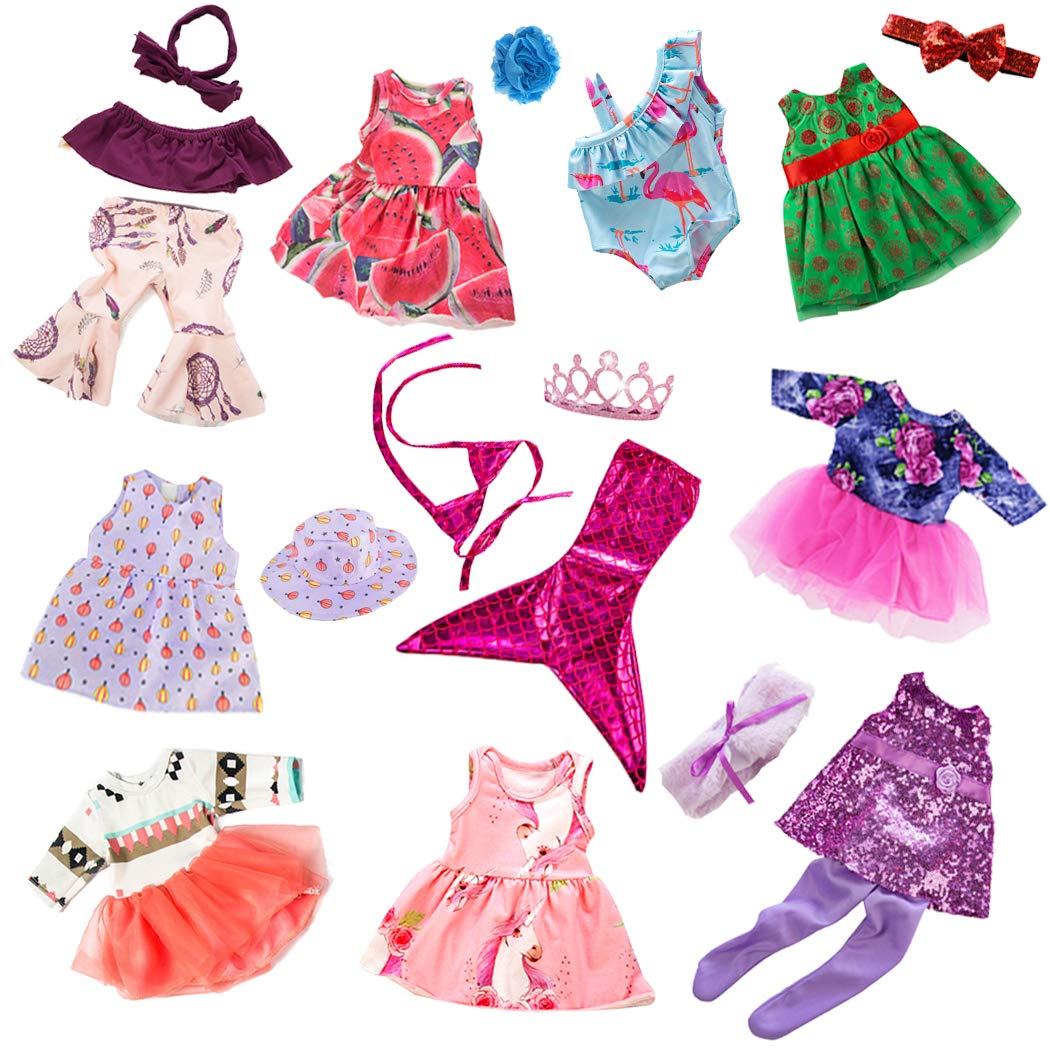 ebuddy 10-Sets Fashion Doll Clothes and Accessories with Popular Elements Horn Style,Unicon,Flamingo,Mermaid,Princess Dress for 18 inch American Girl Doll Our Generation Doll
