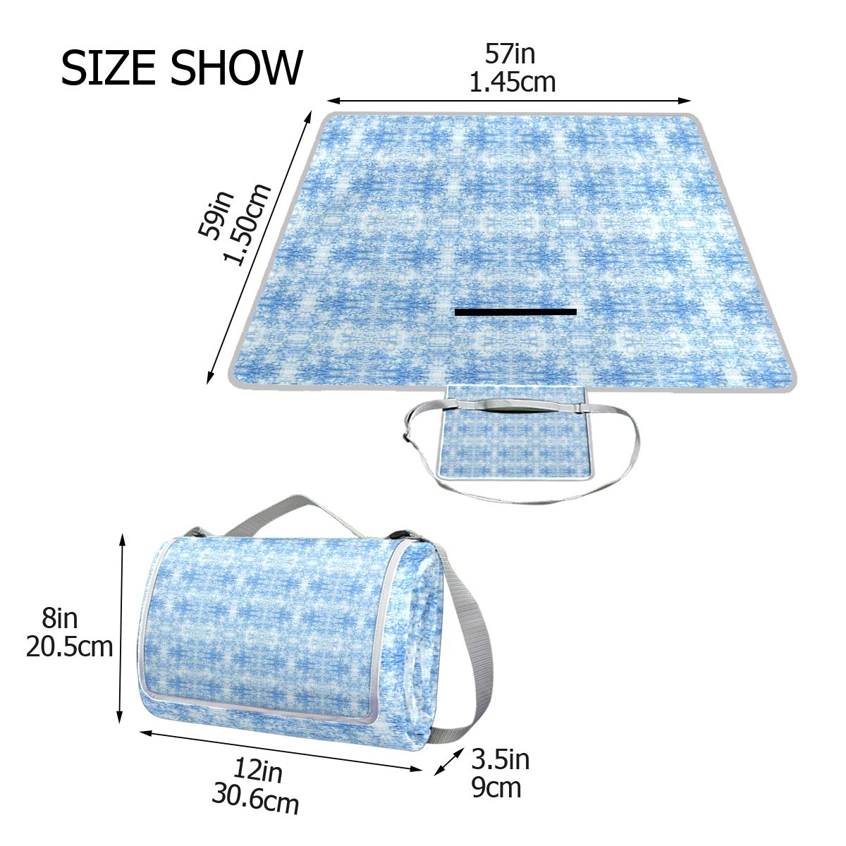 LOIGEIDQ Picnic mat Rchambray Light Waterproof Outdoor Picnic Blanket, Sandproof and Waterproof Picnic Blanket Tote for Camping Hiking Grass Travelling DualLayers by LOIGEIDQ (Image #5)