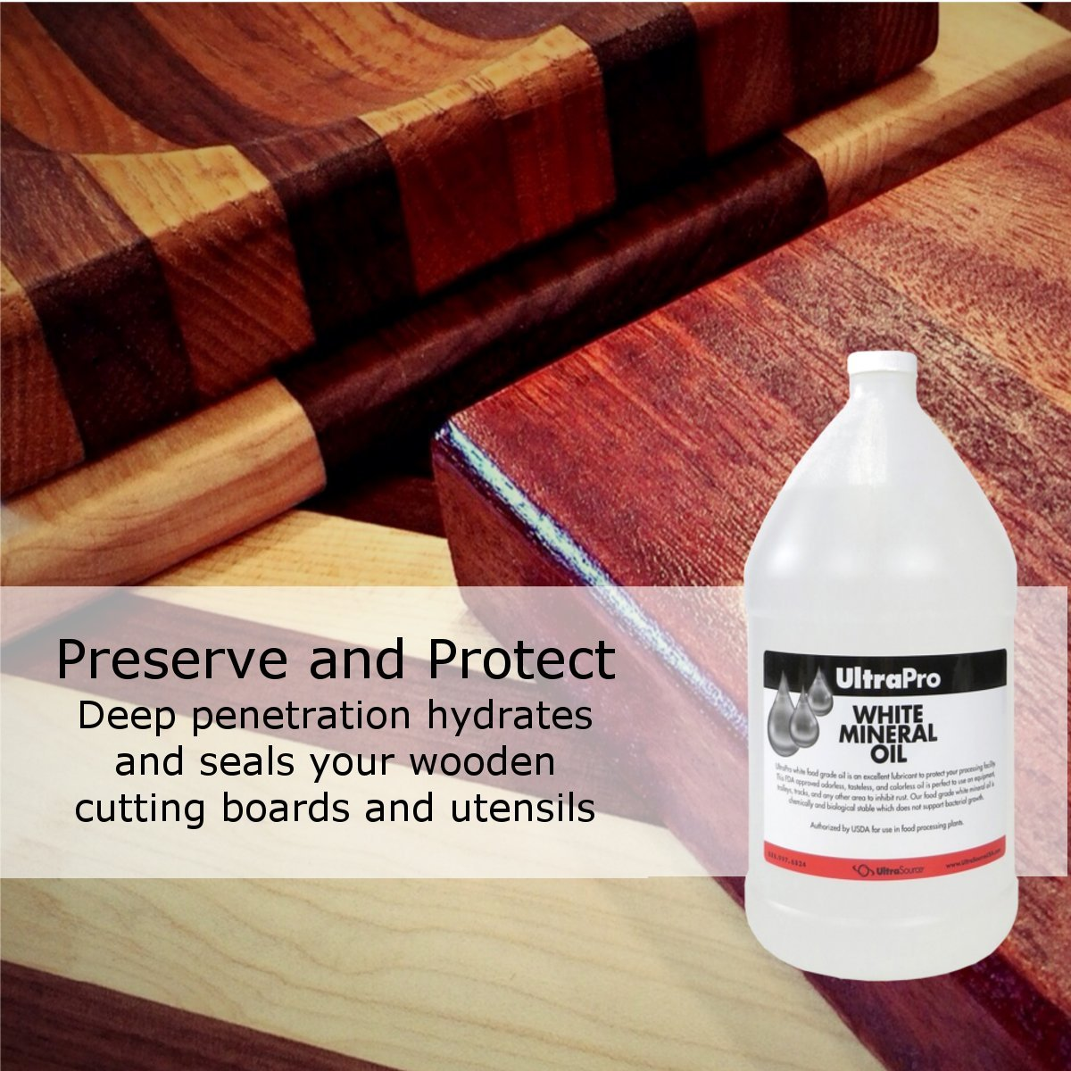 Food Grade Mineral Oil, 1 Gallon (128oz), for Cutting Boards and Butcher Blocks, Stainless Steel and More, NSF Approved by UltraSource (Image #3)
