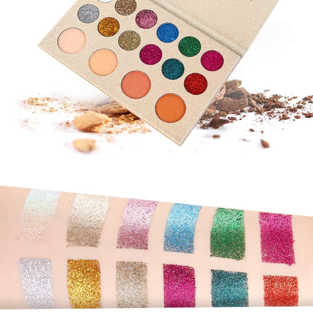 Kissfairy Glitter Eyeshadow 16 Colors Eyeshadow Palette Pop Eye Shadow Shimmer Eyeshadow Palette Highly Pigmented Eyeshadow Palette