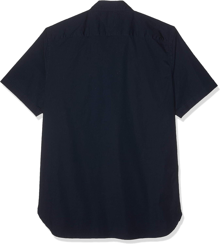 Tommy Hilfiger Mens Stretch Poplin Shortsleeved Shirt Blue