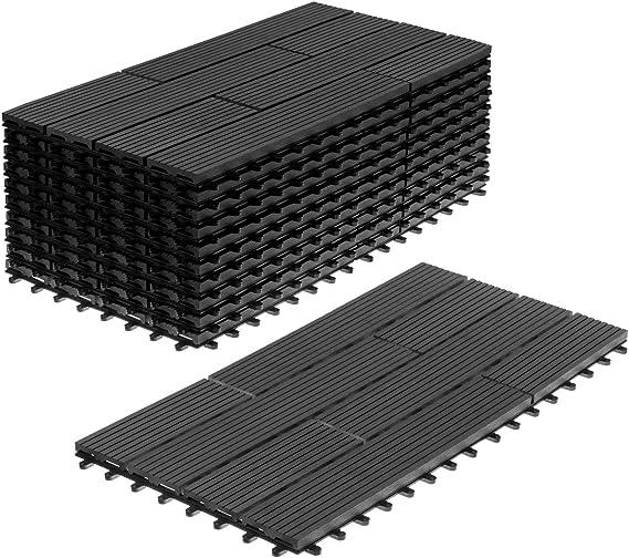 Aufun 6X Balkonfliesen Terrassen WPC Kunststoff klick Fliese Terrassendielen in Holz-Optik Zusammenbaubar Garten klick-Fliese ca 30x60cm//St/ück, Anthrazit 1m/²