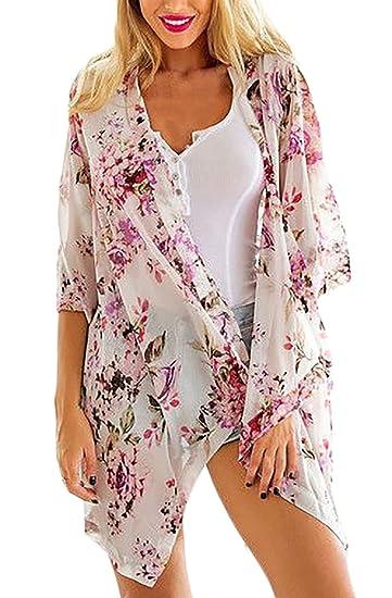 Mujer Kimono Gasa Bohemio Estampado Floral 3/4 Manga Asimetricas Irregular Suelto Casual Jovenes Ropa Fiesta Modernas Moda Verano Playa Cardigans Beachwear ...