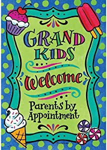 Custom Decor Grandkids Welcome - Standard Size, Decorative Double Sided, Licensed and Copyrighted Flag - Printed in USA Inc. 28 Inch X 40 Inch Approx.