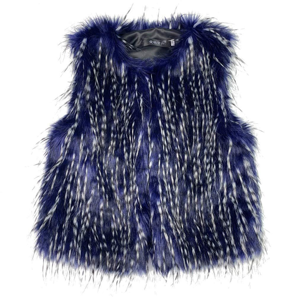 Sanmomo Baby Infant Girls Vest,Plush Blue Keep Warm Loose Coat Sleeveless Vest (3-4 Years, Dark Blue) by Sanmomo
