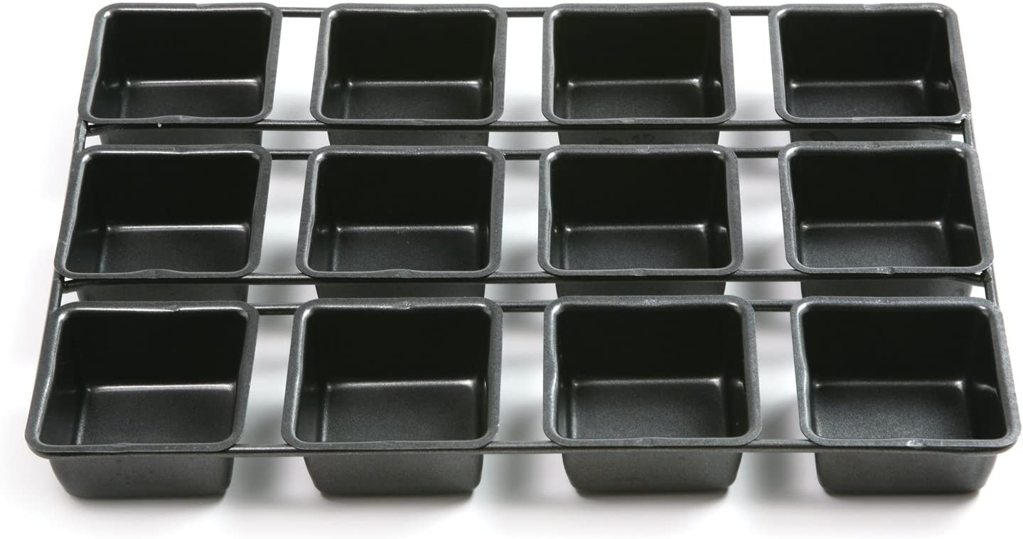 Square Cake Mold Cupcakes Pan for Baking Brownies Nonstick Brownie Pan Cakes and Bar-Cookies 12-Cavity