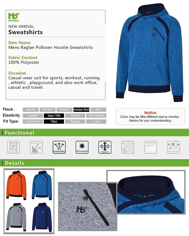 HOOBAI Mens Raglan Pullover Hoodie Sweatshirts