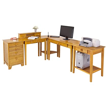 Home Office Contemporary L Shape Computer Desk In Pine Finish