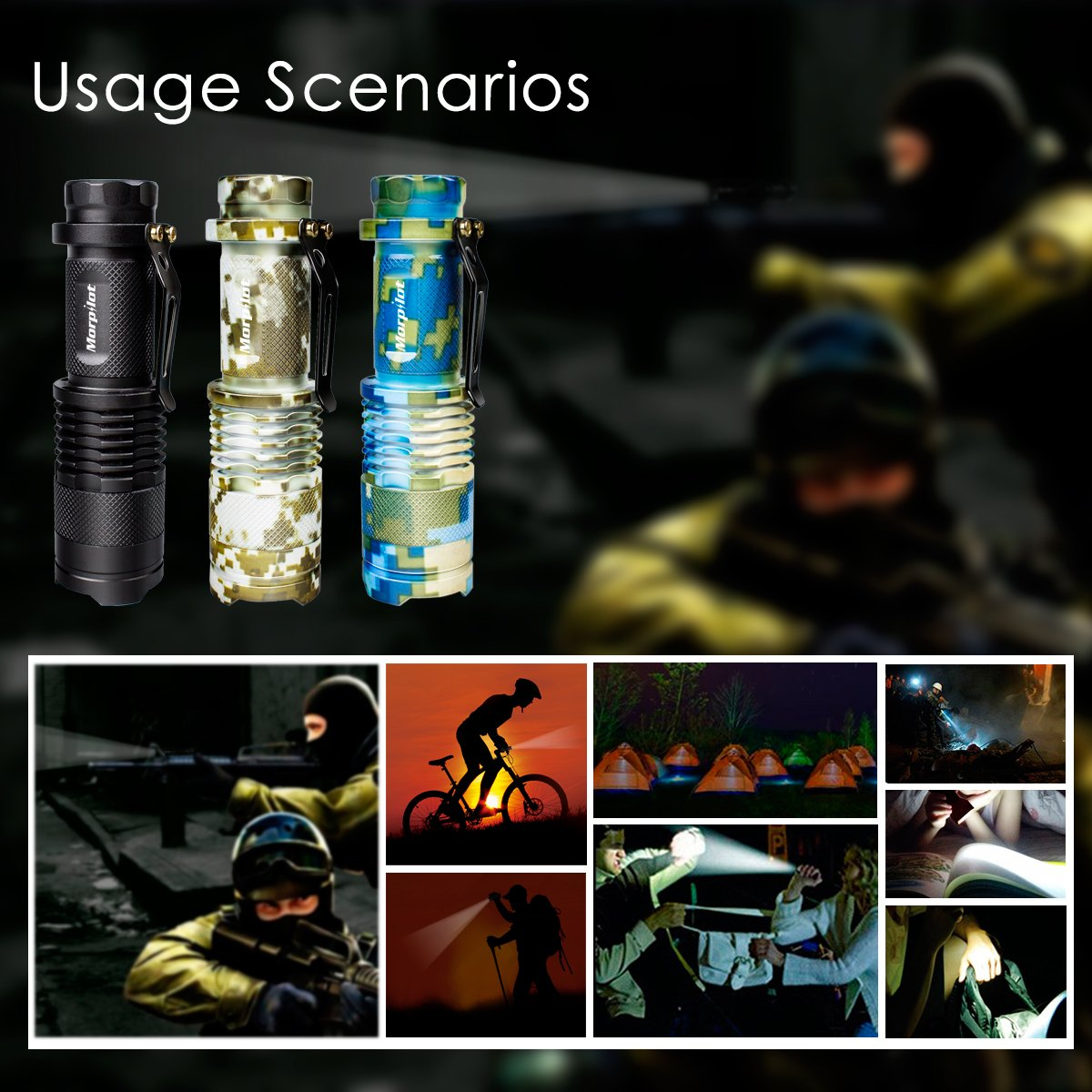 Morpilot Tactical Flashlight,Pocket-Sized LED Torch 350 Lumen 5 Modes Ultra Bright with Adjustable Focus for Hunting Camping Hiking Cycling, Ideal for Christmas Gift