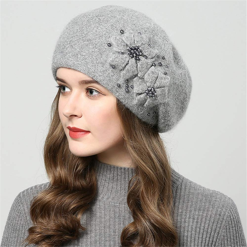 Dig dog bone Womens Knit Hat Beret Double Thicken Pearl Inlay Knit Cap
