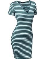 MBE Women's Sexy Casual Stripe Mini Bodycon Dress