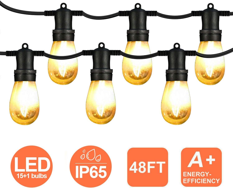 Guirnalda Exterior Luminosas,48ft Cadena de Luces LED con 15Bombillas(1 Bomnillas de Reemplazo) Perfecto Para Patios,Jardines,Café,Cobertizos,Navidad