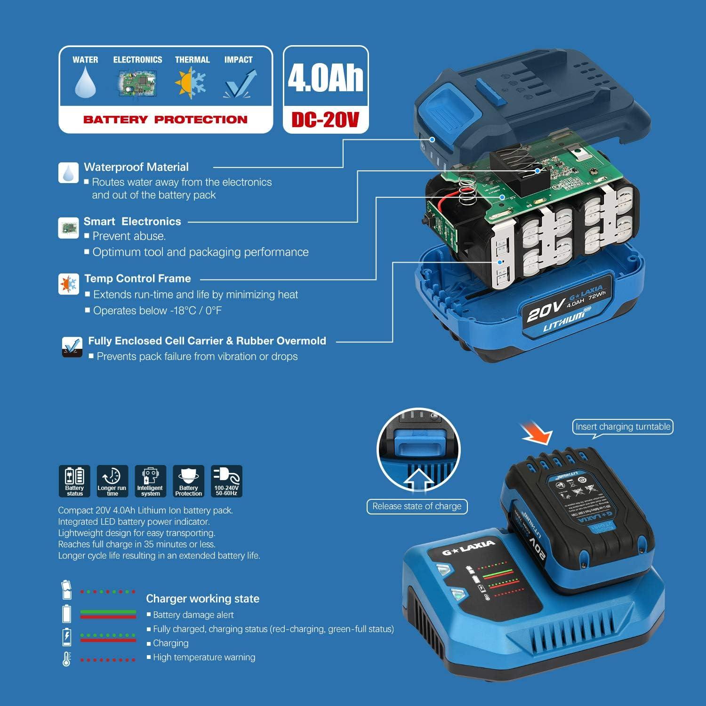 Bater/ía 4.0Ah 20V 2300SPM 4 Modos de Corte 45 /°Corte en Bisel 1 hora Cargador R/ápido 2 Hojas de Sierra G LAXIA Sierra de Calar Luz LED//97802 90mm Corte para Madera