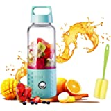 Portable Juice Blenders for Smoothie USB Rechargeable Mini Juicer Machines Extractor Household Fruit Mixer Small Cup 500ml Personal Travel Outdoors (Blue)