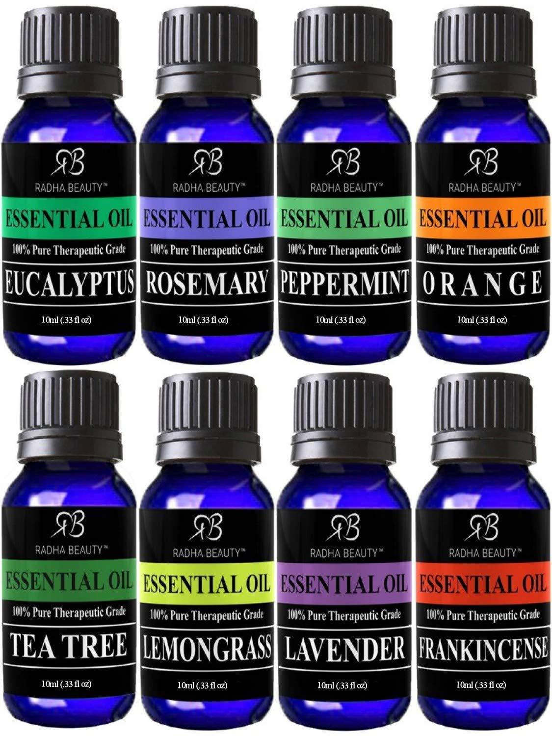 Radha Beauty Aromatherapy Top 8 Essential Oils 100% Pure & Therapeutic Grade - Basic Sampler Gift Set & Kit (Lavender, Tea Tree, Eucalpytus, Lemongrass, Orange, Peppermint, Frankincense, and Rosemary)
