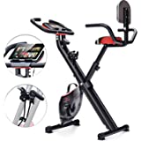Sportstech Bicicleta Estática Plegable F-Bike X100-B con Sistema de Resistencia Inteligente, Respaldo de inercia de 4kg, Soporte para Tableta, 4 Niveles de Resistencia magnetica, pulsometro Integrado