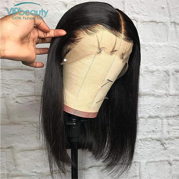 VIPbeauty Bob Perruque Femme Vrai Cheveux Courts Bresiliens Naturelle Cheveux Humains Vierges Lisse lace front Noir Naturel - 12 Pouces