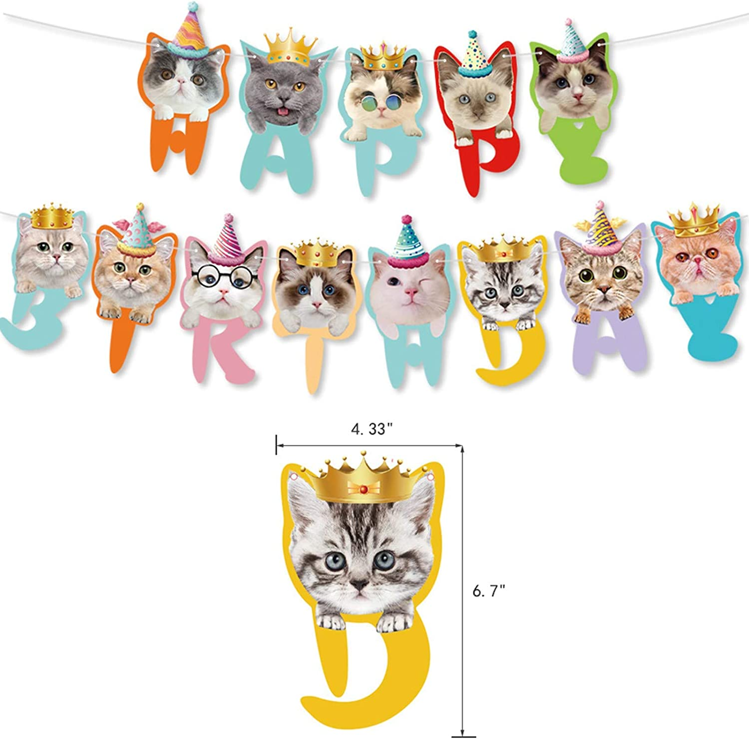 35 Pieces Pet Cat Birthday Party Supplies,Including Cat Birthday Banner,Cat Cake Topper and Cupcake Topper,Cat Paw Cat Head Balloon for Pet Cat Party Decoration
