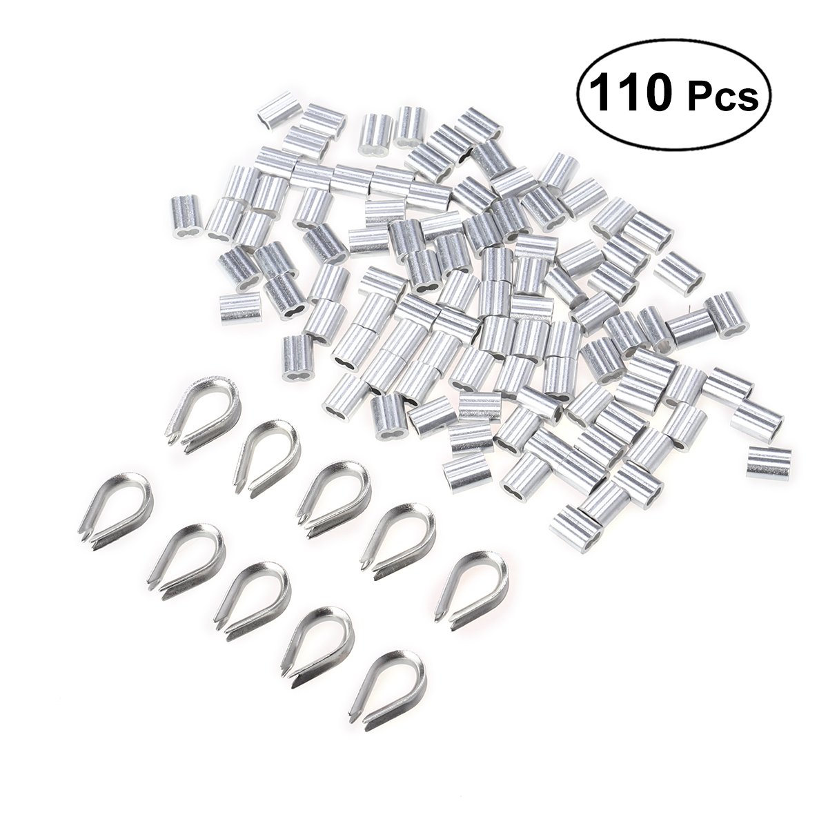 UKCOCO Sertissage de fil d'acier M15 en aluminium et jeu de cosses en acier inoxydable M2-110 piè ces (argent)