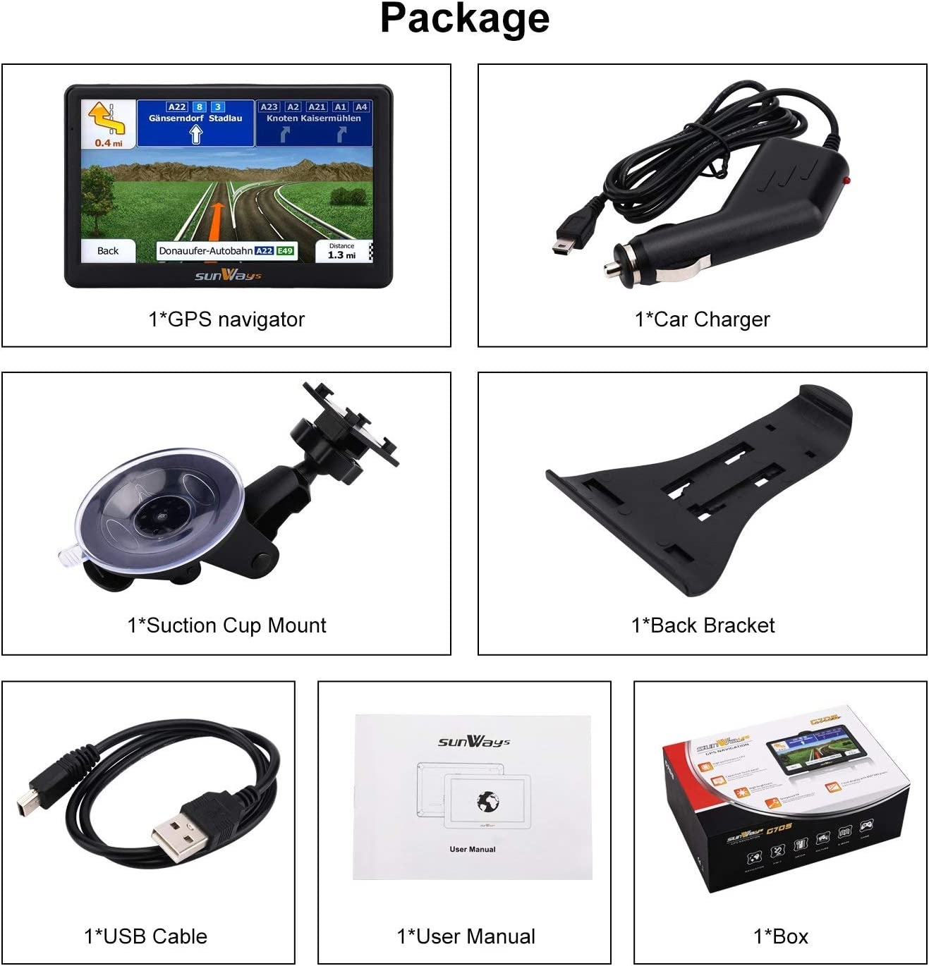 GPS Navigation for Car 7 Inch Car GPS Navigation System 8GB Touch Screen Vehicle GPS Navigator with Lifetime Map Update