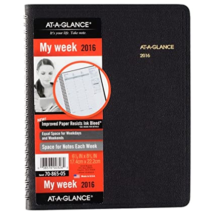 AT-A-GLANCE Weekly agenda 2016, 6-7/8 x 8 -3/cm 10,16, negro ...