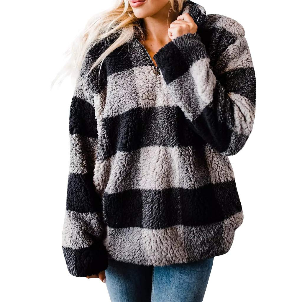 Shusuen Women's Plaid Fleece Warm Jacket Zipper Hoodie Casual Oversize Outfit Gray by Shusuen_Clothes