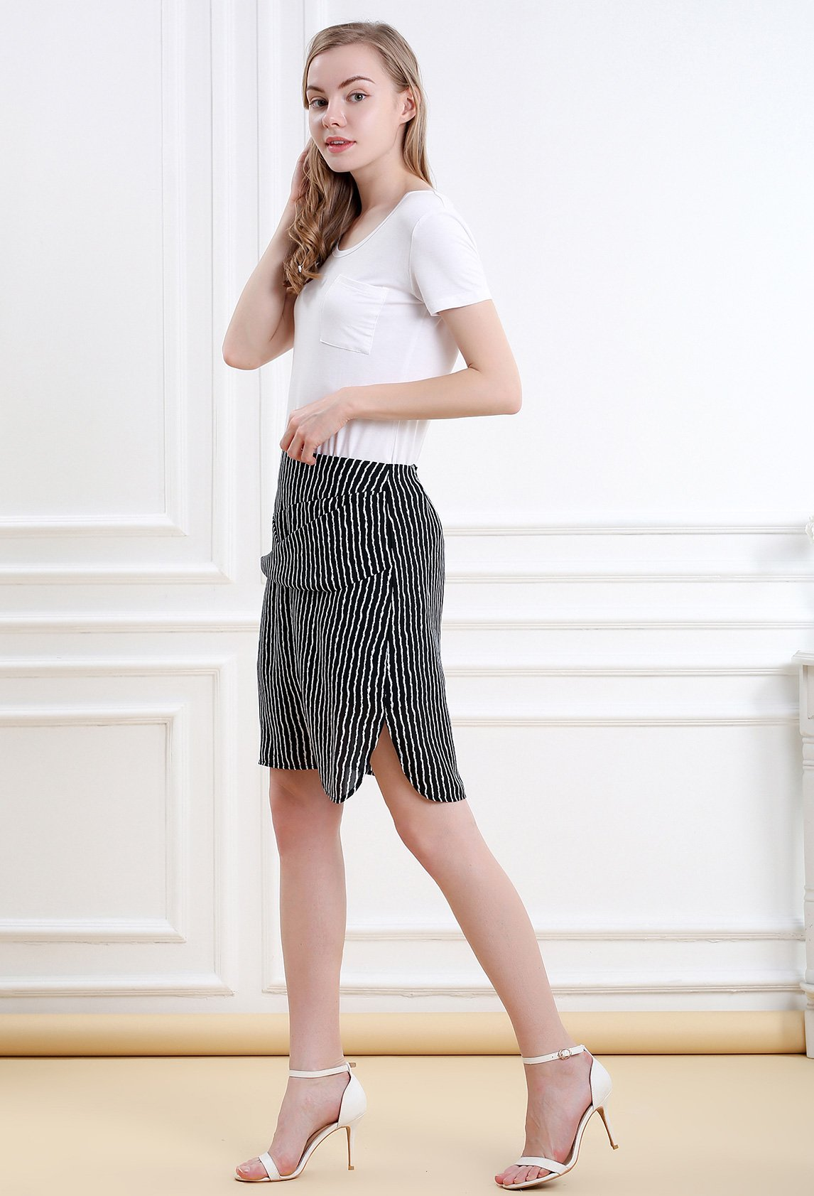 Women Striped Split Mini Skirt Crossed Front Casual A-line Skirt with Zipper XL by Vero Viva (Image #3)