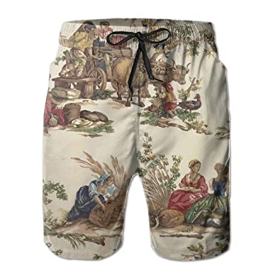 2581056f51 Amazon.com: French Country Toile Print Men's Loose Board Shorts Beach  Shorts Quick-Dry Surfer's Shorts Swim Shorts: Clothing