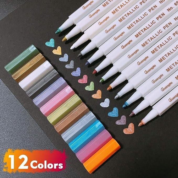 Pennarelli Metallici,Set di 10 colori Penne Metallici Marker,Funziona su Qualsiasi Tipo di Carta e Superfici in Vetro,Plastica,Ceramica e Legno