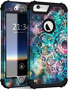 """Hocase iPhone 6s Plus Case, iPhone 6 Plus Case, Heavy Duty Shockproof Protection Hard Plastic+Silicone Rubber Protective Case for iPhone 6 Plus/6s Plus w/ 5.5"""" Display - Mandala in Galaxy"""