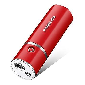 POWERADD Slim2 de 5000mAh Power Bank Cargador Móvil Portátil Batería Externa para iPhone, iPad Samsung Huawei Xiaomi Dispositivos Android y Más - Rojo