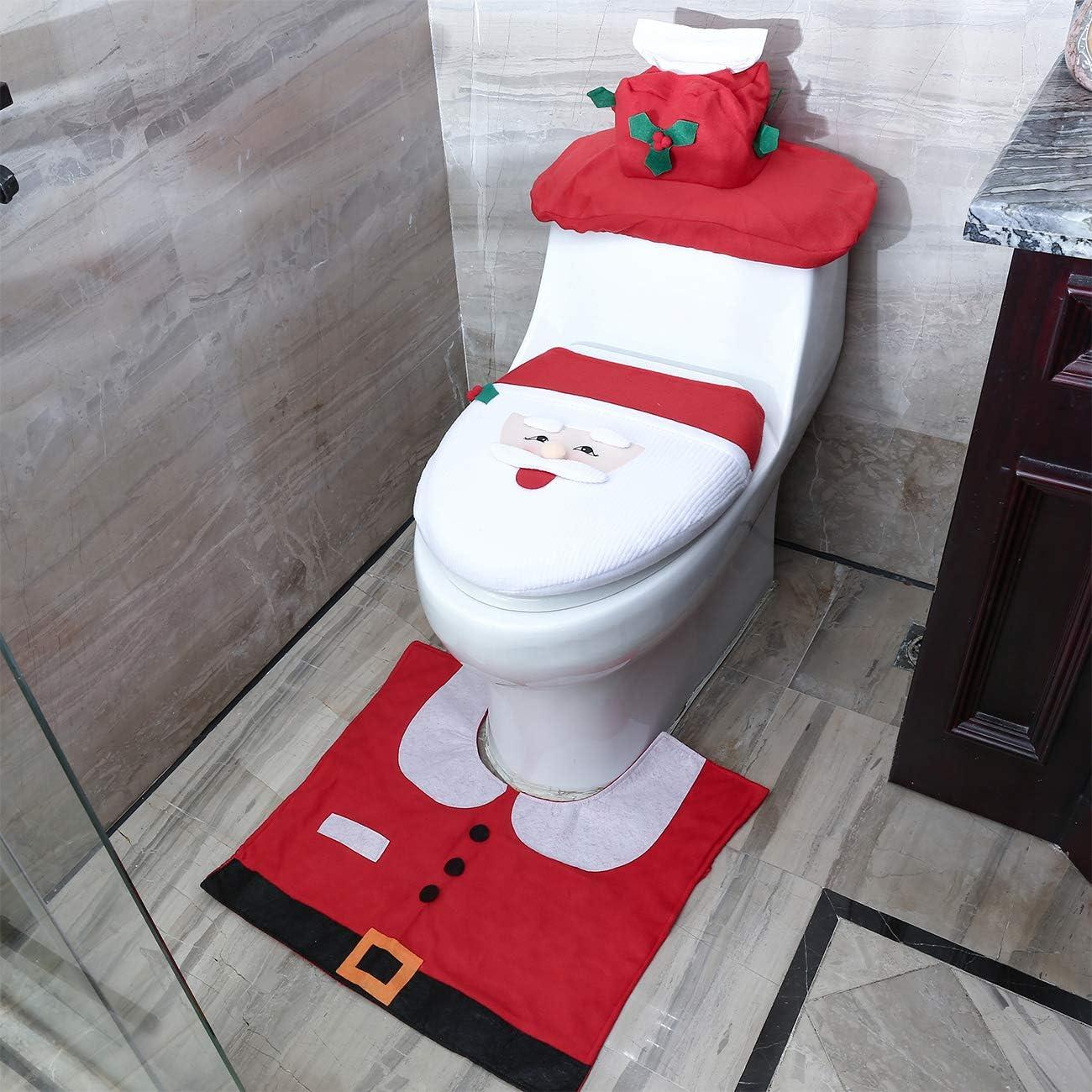 Davidshirsch WC-Weihnachtsdekorations-Set Badvorleger Deckelbezug WC Bezug Weihnachten Toilettensitzbezug Neusky 3-TLG