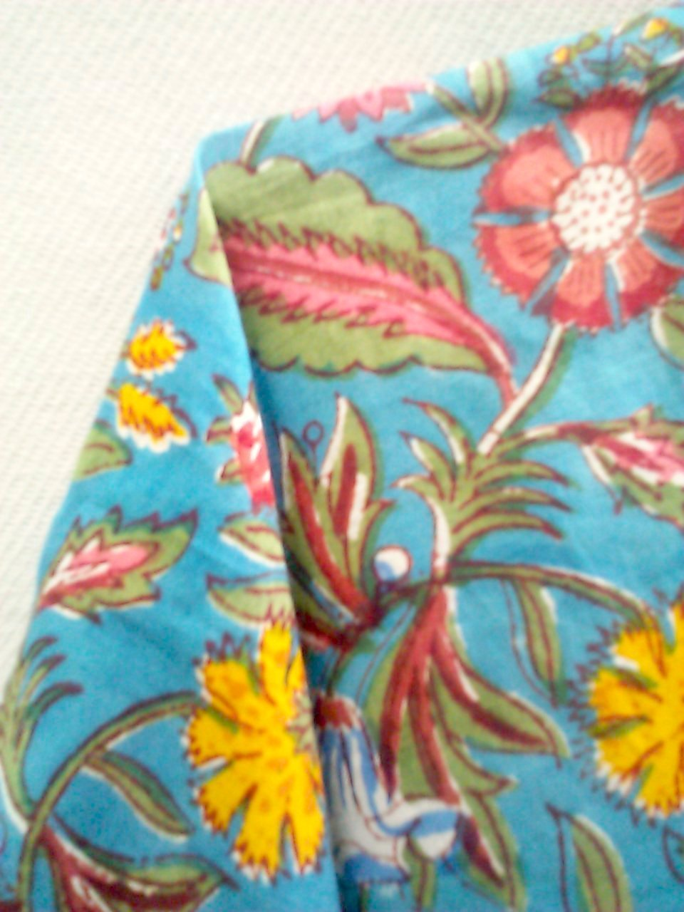 d11aaf28c8 Amazon.com: Teal Blue Coral & Red Chinoiserie Floral Anokhi Hand block  print Long Indian cotton Kaftan One Size: Handmade