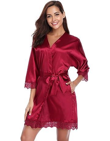 Aibrou Kimono Mujer Batas Cortos Lenceria de Aspecto Brillante