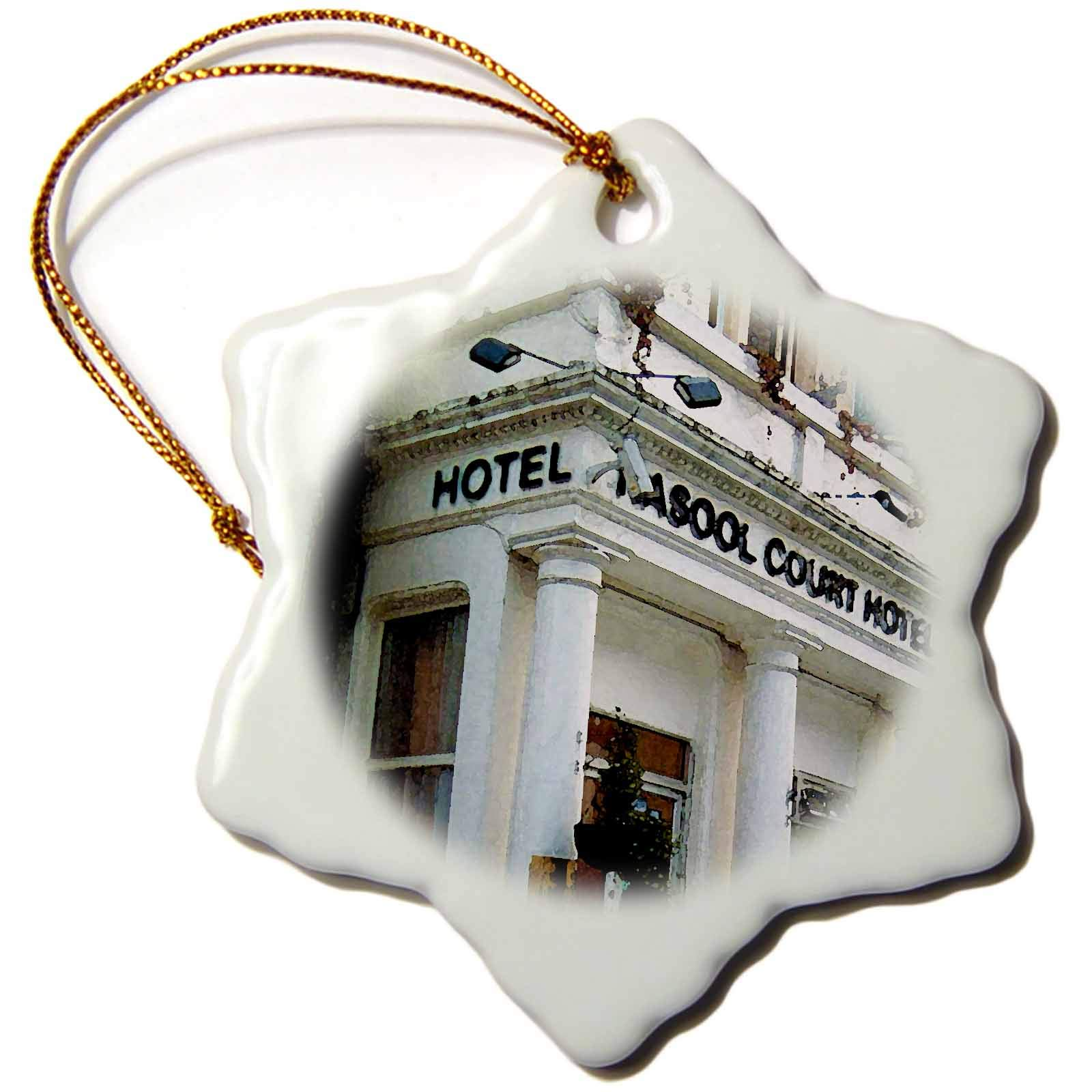 3dRose Jos Fauxtographee- London Watercolor Hotel - The Rasool Hotel in London Done in a Watercolor Effect - 3 inch Snowflake Porcelain Ornament (ORN_291340_1)