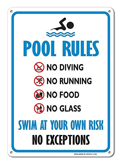 Amazon.com: Ugtell Custom Aluminium Signs Pool Sign ...